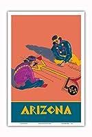 アリゾナ州 - ホピインディアンズの砂の絵 - サンタフェ鉄道 - ビンテージな鉄道旅行のポスター c.1940s - アートポスター - 31cm x 46cm