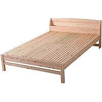 島根県産・高知四万十産 繊細ヒノキすのこベッド シングルサイズ 無塗装ひのきベッド 2口コンセント付・棚付きすのこベッド 下収納スペース有 木製7022301