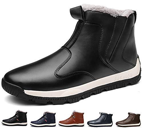 Sixspace スノーブーツ メンズ 防滑 スノーシューズ ショート ブーツ 防水 防寒 保暖 冬用 安全靴 作業靴 綿靴 雪靴 ブラック 26.5cm