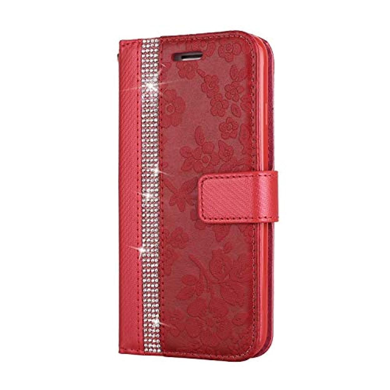 インチ仲良し退化するCUNUS iPhone 7 / iPhone 8 用 ウォレット ケース, プレミアム PUレザー 全面保護 ケース 耐衝撃 スタンド機能 耐汚れ カード収納 カバー, レッド
