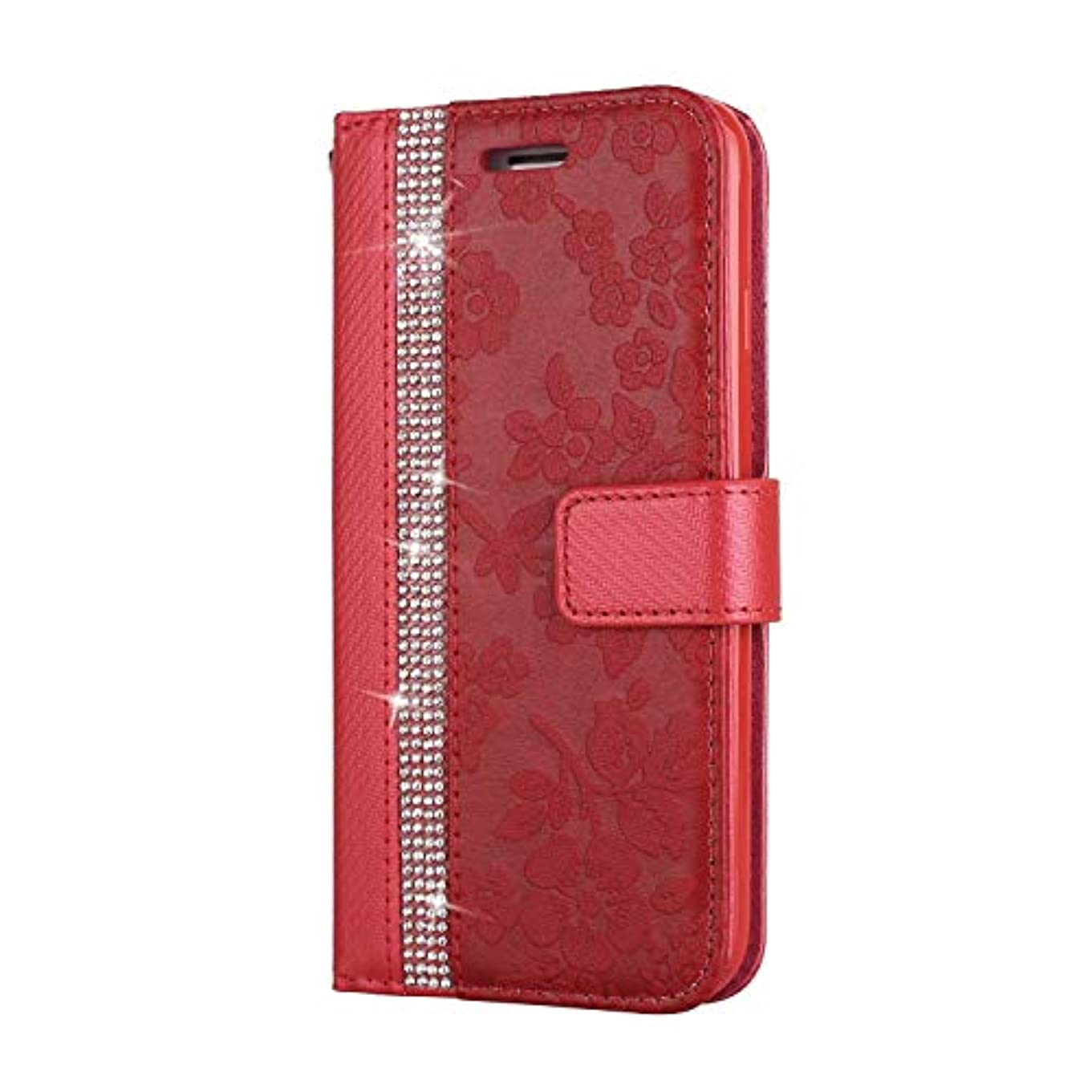 素晴らしきラウズ知性CUNUS iPhone 7 / iPhone 8 用 ウォレット ケース, プレミアム PUレザー 全面保護 ケース 耐衝撃 スタンド機能 耐汚れ カード収納 カバー, レッド