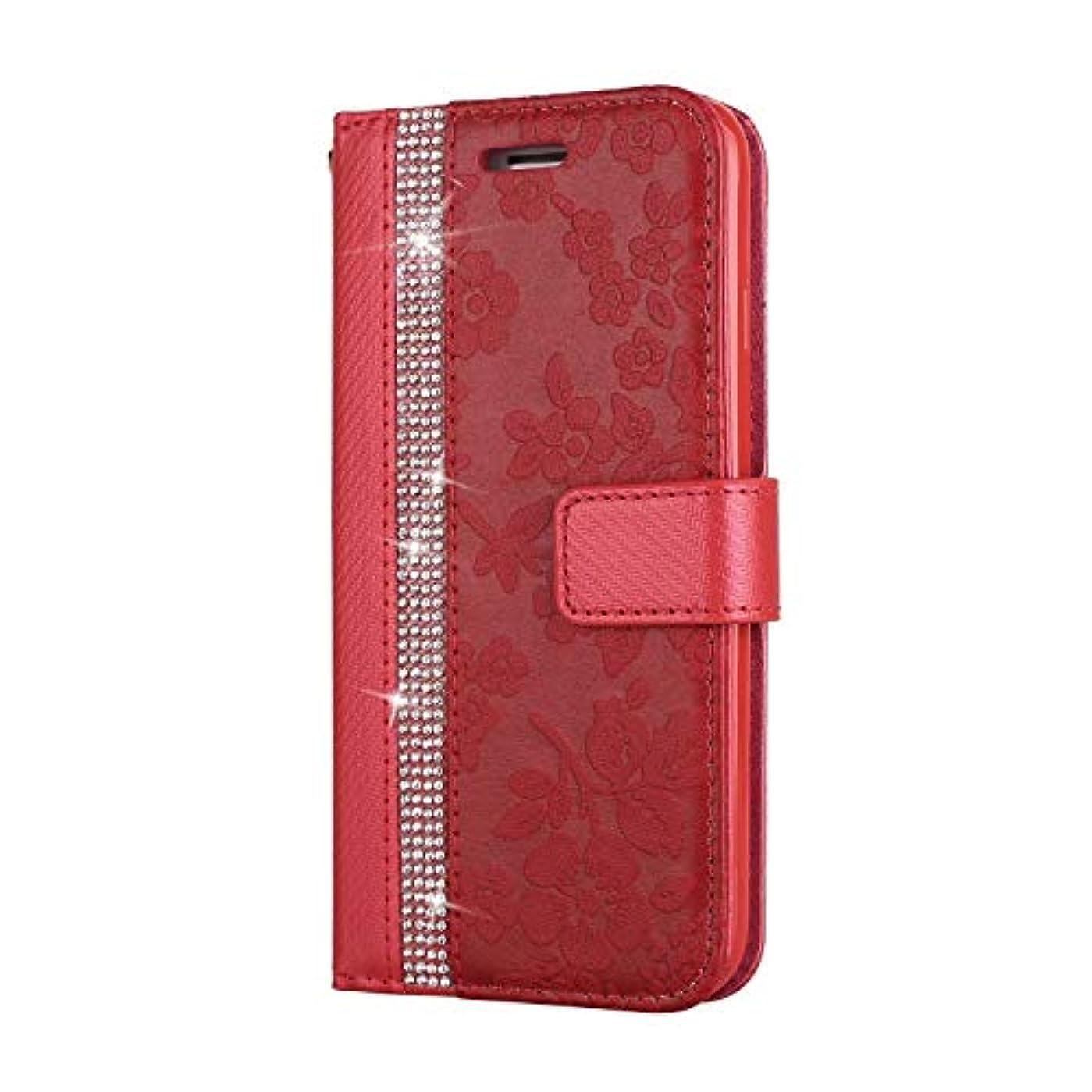まともなバウンス同意CUNUS iPhone 7 / iPhone 8 用 ウォレット ケース, プレミアム PUレザー 全面保護 ケース 耐衝撃 スタンド機能 耐汚れ カード収納 カバー, レッド
