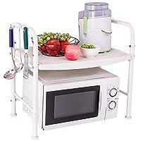 .キッチンラック キッチン棚家庭用鋼管電子レンジラックトーストラック浴室リビングルーム収納棚付きフック
