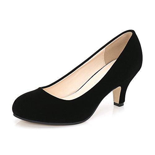 [OCHENTA] レディース メンズ シンプル 歩きやすい スエード エナメル 大きいサイズ 美脚 通勤 通学 ピンヒール ハイヒール ジュース ラウンド パンプス 6cmヒール スエード ブラック 43