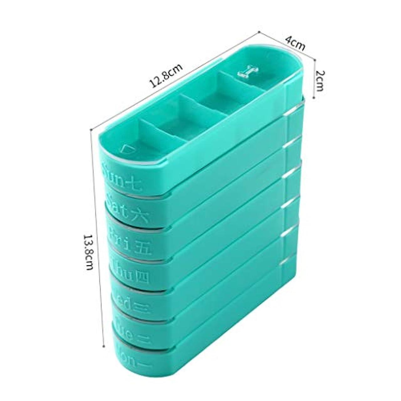 旅行者槍同様にミニ1週間の小さなピルボックスを運ぶポータブル薬注ボックス切断薬調剤ボックス大容量ピルボックス 薬箱 (Color : Green, Size : 12.8cm×13.8cm×4cm)