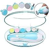 ベビー電動ネイルケア ベビー 爪やすり 赤ちゃん 電動 爪やすり 電動 低騒音 角質ケア 甘皮処理 ベビ 安全なつま先の指の爪の 新生児幼児または女性用のLEDライト付き、18個の研削ヘッド 付属一生品質保証(ブルー)