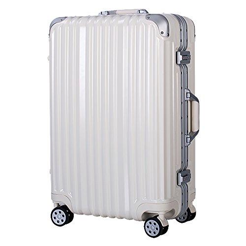 (トラベルハウス)TRAVELHOUSE 軽量アルミフレーム スーツケース キャリーケース キャリーバッグ TSAロック搭載 一年間修理保証 超軽量 フレーム L1602 (M, Bホワイト)