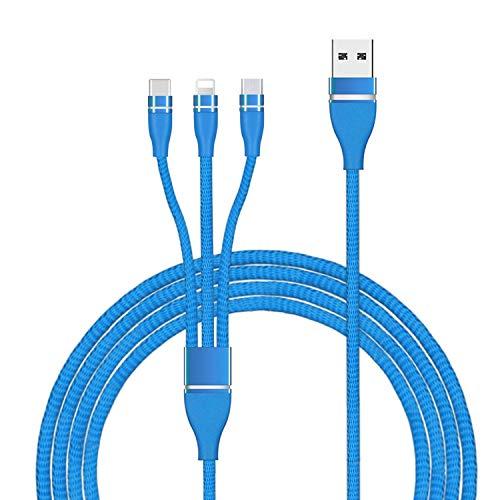 3in1急速充電ケーブル 3イン1充電ケーブル Microusbケーブル ライトニングケーブル USB Type-Cケーブル 2.4A急速充電 高速データ転送対応 小型ヘッド設計 高耐久編組ナイロンケーブル iphone android type-c 同時給電可能 1本3役 多機種対応 1.2m ブルー