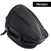 Horizon オリジナル バイク用 シートカウル 型 ポーチ リア シート バッグ 無地 ブラック black 容量7L 取り付けストラップ付属