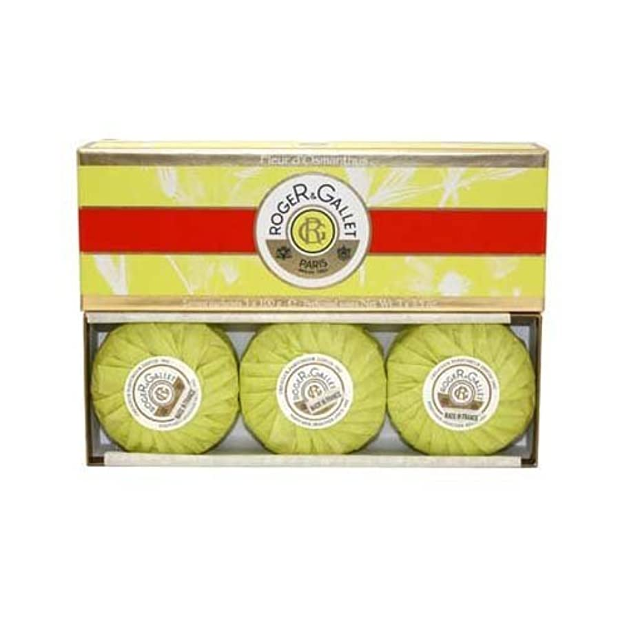 市場治世含意ロジェガレ オスマンティウスパフューム 香水石鹸 100g 3個入りセット ROGER&GALLET FLEUR D'OSMANTHUS PERFUMED SOAP [並行輸入品]
