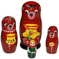 動物マトリョーシカ 三匹の熊(ロシア民話) 4個組