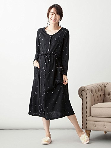 12cee38280d ANGELIEBE Enjeribe Maternity pajamas nursing opening with India Heart ×  logo print negligee nursing clothes maternity long-sleeved open front L  black ...