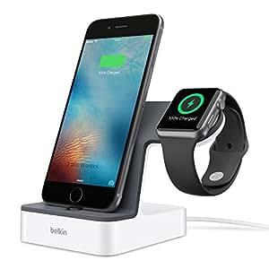 【正規代理店】belkin Apple WatchとiPhoneを同時充電 APPLE認証 充電スタンド iphone7/7plus対応 PowerHouse™ ホワイト F8J200QEWHT-A