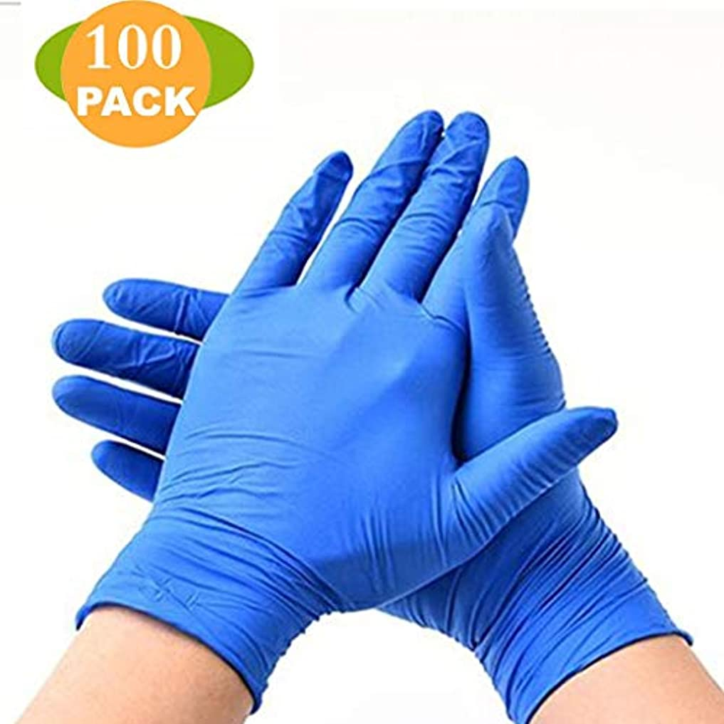 割り当てますコミュニケーションタック使い捨て耐久性のある厚手の手袋の実験室の食用油と耐酸性-100パーボックス (Color : Blue, Size : L)