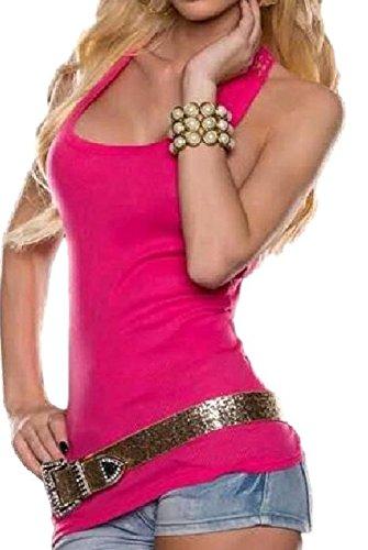 [ルビタス]バックレースタンクトップノースリーブカジュアルtシャツ10代20代30代シャツ(L,桃色)
