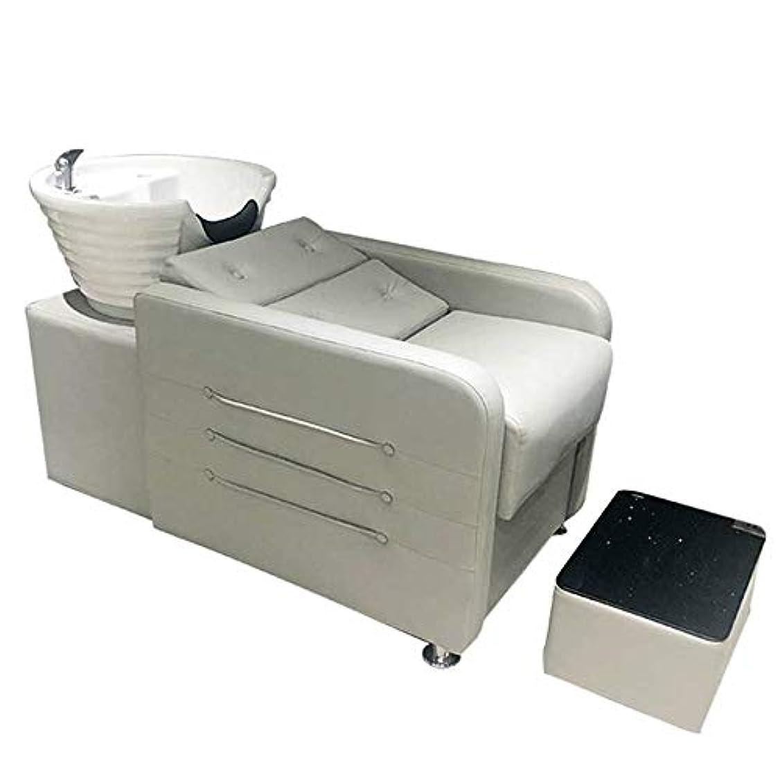 冷ややかな変数記念品シャンプーチェア、 逆洗ユニットシャンプーボウル理髪シンク椅子用スパビューティーサロンフラッシュベッド(グレー)