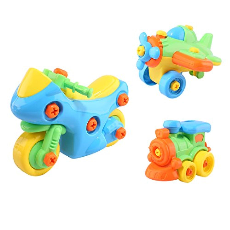 早期教育玩具、pinchuanghui 3pcsプラスチックCartoonアセンブリ早期教育玩具おもちゃディスfor Kids ( Motorcycle +機関車+平面) – カラーランダム