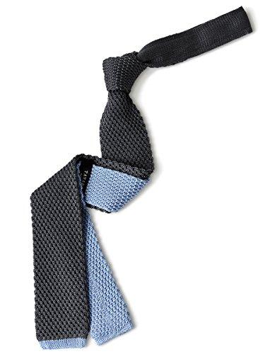 [タバラット] 日本製 ニットタイ シルク100% 5.5cm幅 丸編み (グレー×ブルー) Tps-007-gb