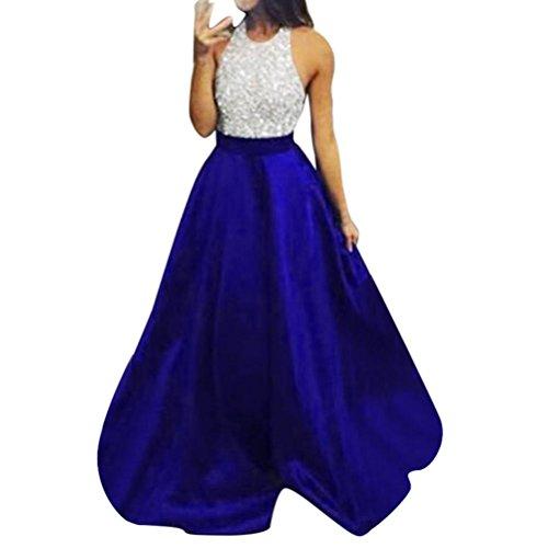 SakuraBest Women's Sexy Sequins Halter Bridesmaid Dress Evening Party Ball Gown Long Dress (S)