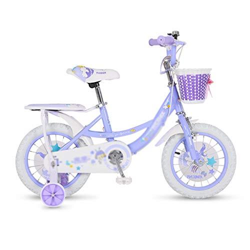 キッズバイク男の子のバイク女の子のバイク2-4-6-8歳子供のための自転車ピンクの王女の自転車最高の贈り物子供の自転車 (Color : Purple, Size : 14inches)