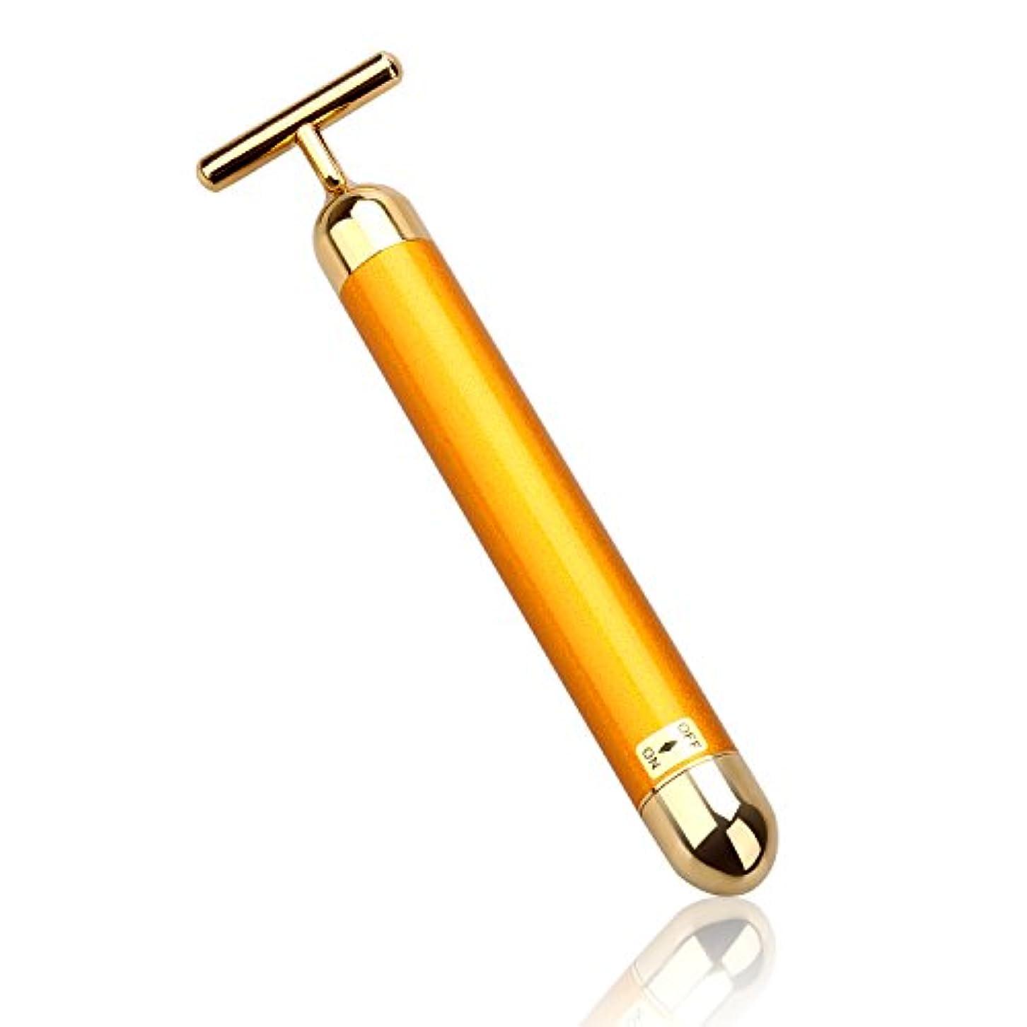 脱獄ストレスの多い帰るLEVIN 電動美顔器 ビューティーバー フェイスパー 電動美顔器 美肌 防水 ゴールド