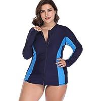 Sociala Women's Plus Size Long Sleeve Rash Guard Top Zip Front UPF 50 Swim Shirt