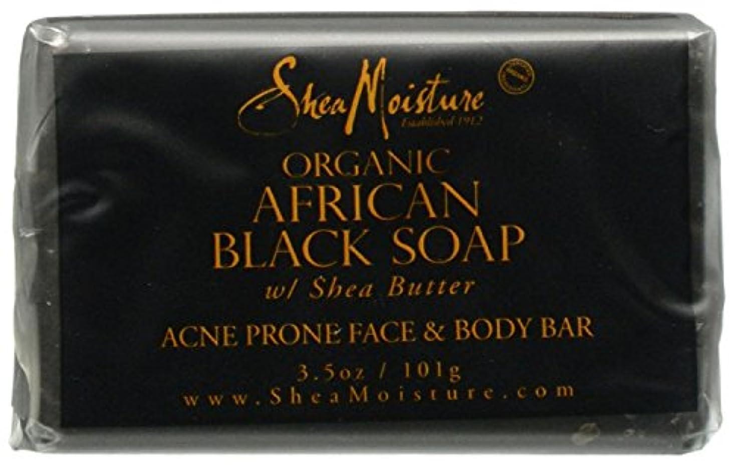 前部杭ソフトウェアShea Moisture バーソープ (Organic African Black Soap Acne Prone Face & Body)