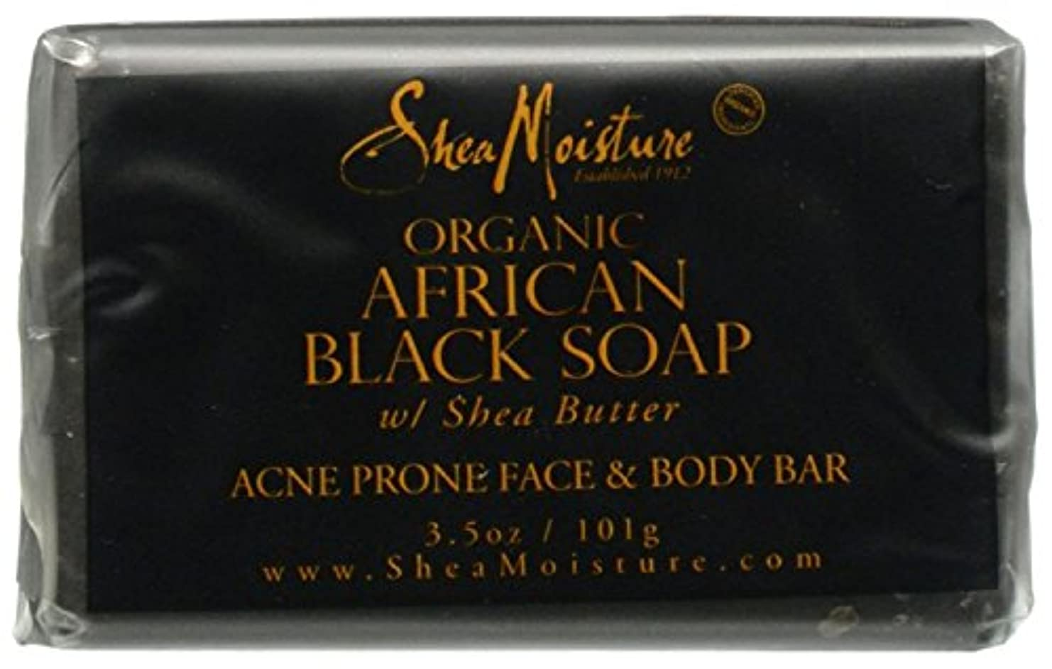ヒップ湿ったセットするShea Moisture バーソープ (Organic African Black Soap Acne Prone Face & Body)