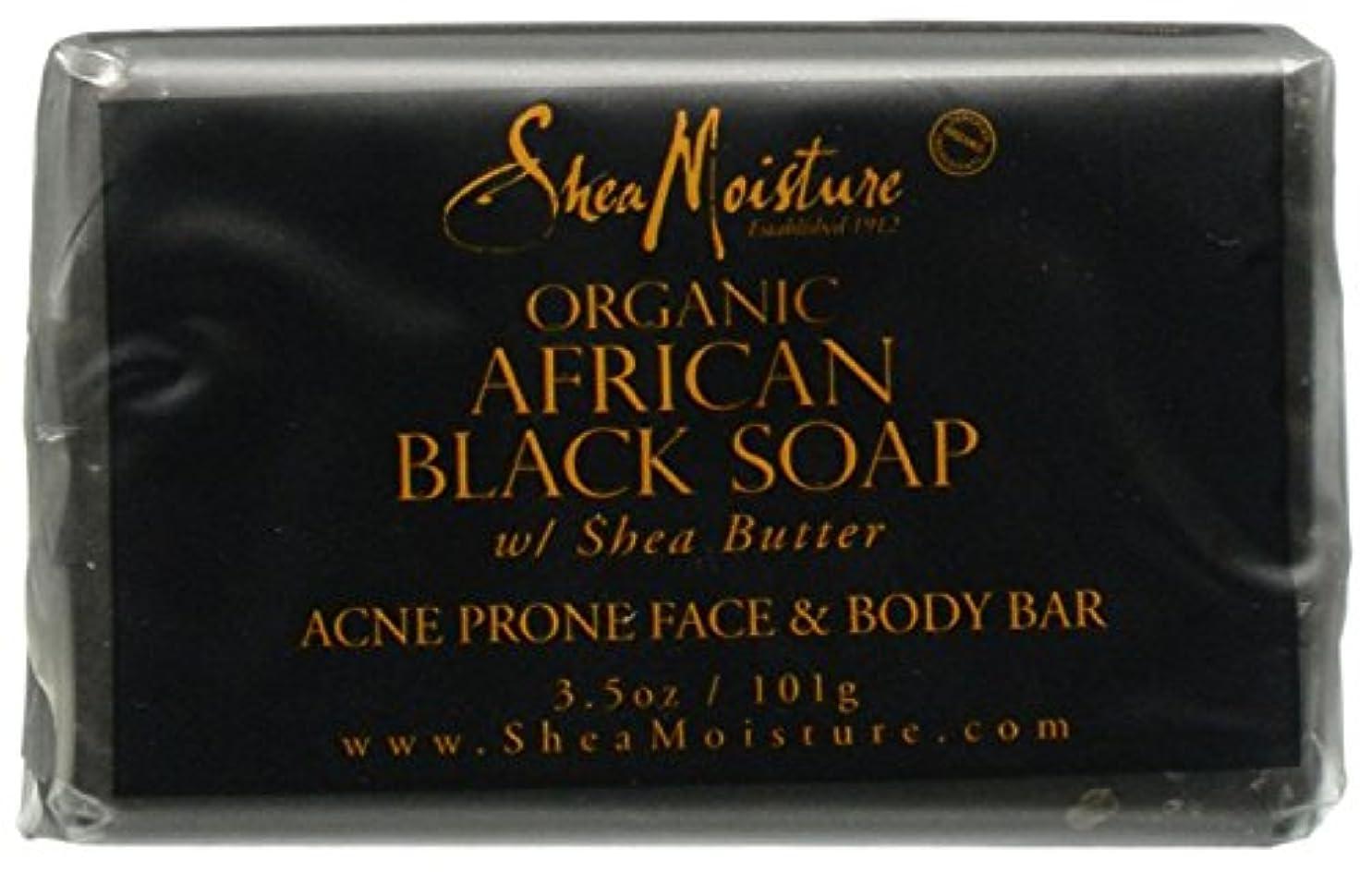 ダンプ下手達成Shea Moisture バーソープ (Organic African Black Soap Acne Prone Face & Body)