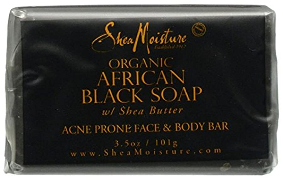 控えめな責任ゲームShea Moisture バーソープ (Organic African Black Soap Acne Prone Face & Body)
