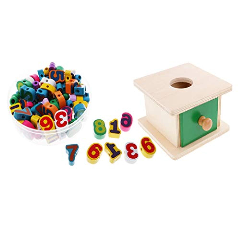 F Fityle 木製 知育玩具 安全玩具 ボックス付き ストリングビーズ 感覚教育 思考力訓練