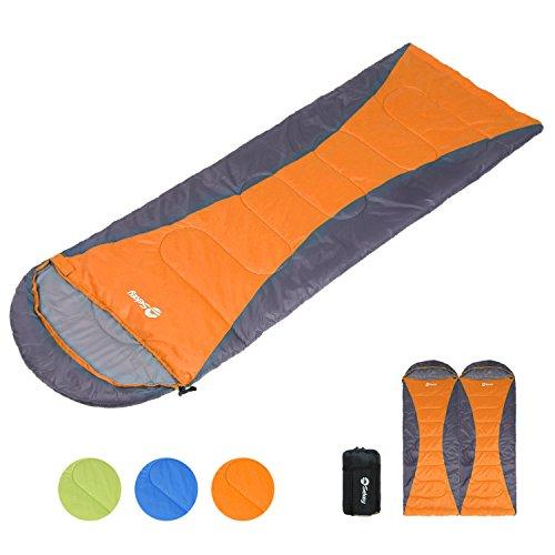 Sekey 寝袋 シュラフ 封筒型 レクタングル 最低使用温度0℃ 軽量 アウトドア 遠足 登山 キャンプなどに活用 オレンジ 右