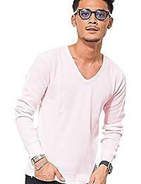 (キャバリア)CavariA メンズ 長袖 Tシャツ クルーネック ブイネック ヘンリーネック 無地 3タイプ【+】