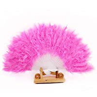 SGings 女性のハンドヘルドファンフェザーファン用ダンス小道具ハンドグースフェザー折りたたみファンウェディングダンスパーティーウエディング伝統的な絶妙なギフトパーティーの装飾 (ピンク)