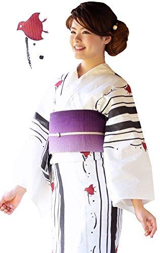 浴衣 ひとときオリジナル 浴衣+帯+下駄 ykt001s グレー千鳥×蜂巣紫
