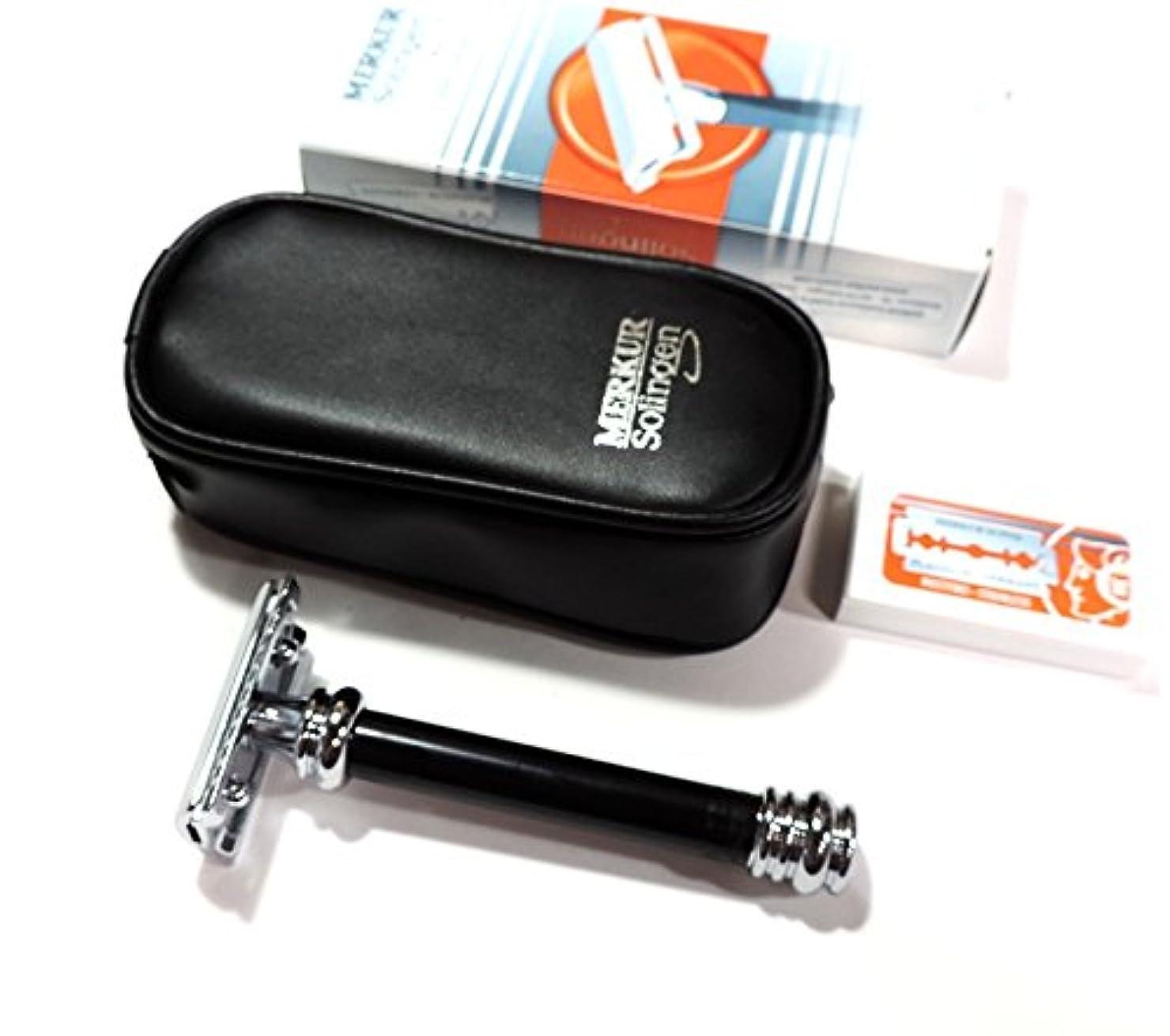 発明する縫うかまどゾーリンゲン メルクール髭剃り(ひげそり)両刃ホルダー38011 ブラックハンドル 革ポーチ付 替刃10枚付