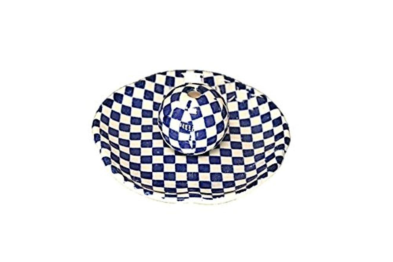 シリンダー考古学的な高度な市松 青 花形香皿 お香立て 日本製