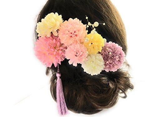 ラブリー白ピンクの可愛いかんざし9点セット*花*造花*パール...