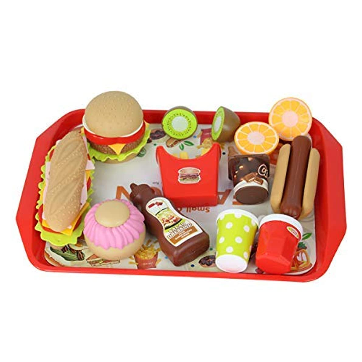 取り囲む大学生急行するCatchStar Play Fast Food Durable Pretend Playset Food Hamburger French Fries Variety Toys Gift for Kid Toddlers [並行輸入品]