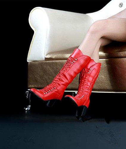 Neinei 1/6 1:6 スケール シューズ ブーツ ハイヒール 靴 ドール 兵士 女性 12インチ PHICEN 1/6素体 (レッド)