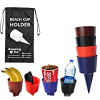 (Beach Cups-4 pack) - Sand Drink Holder Beach Cup Holders Sand Coaster Perfectly Sized Beverage Holder For Beach, Picnics, Garden & Parties - Holds Drinks, Phone, Keys and Small Items in Sand & Grass - Patent Pending