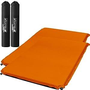 【2個セット】 FIELDOOR 車中泊エアマット 高密度ウレタンフォーム オレンジ (Lサイズ) 幅120cm×奥行195cm×厚み10cm