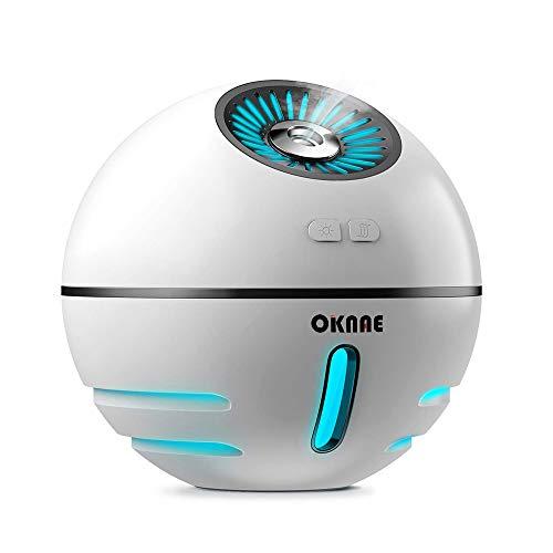 OKNAE 加湿器 2018年新着品 卓上加湿器 球形ミニ加湿器 多機能 超音波式 LEDライト 静音 USB扇風機付き デスクライト付き 省エネ 空焚き防止機能 USB充電式 小型 バッテリー内蔵 おしゃれ ミストボックス 肌乾燥対策 オフィス 部屋 寝室 出張 旅行
