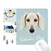 長い顔の白いサルーキ犬ペット・動物 サンタクロース家屋ゴムのマウスパッド