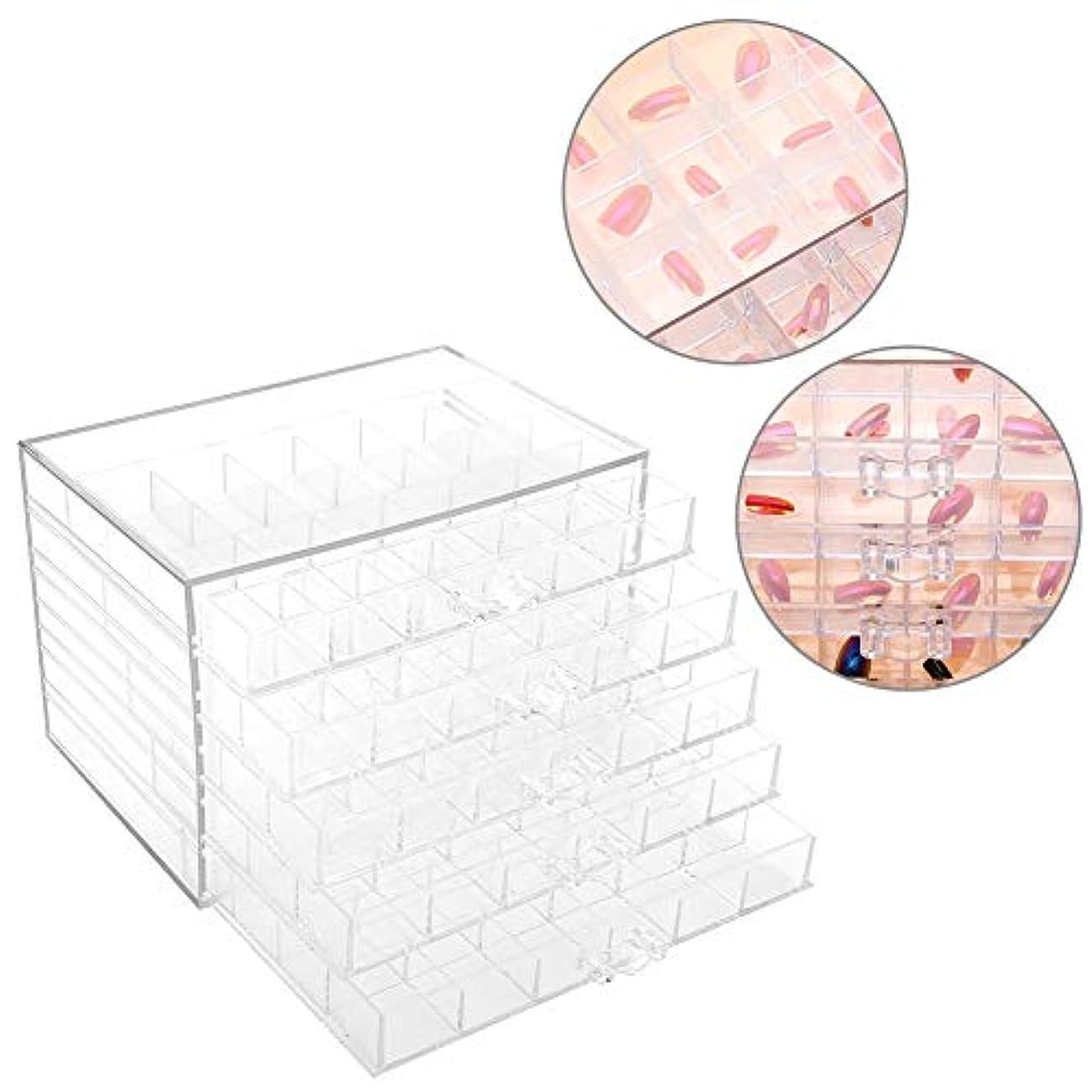 モンスターむさぼり食う嬉しいですネイル装飾シーケンス 120グリッド 小物入れ 防水 便利 整理ボックス透明空ネイルアート収納ボックス化粧品アート 透明