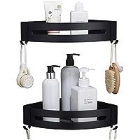 コーナーストレージシェルフ壁掛けブラックダブルレイヤー三角シェルフ化粧品シャワージェルストレージバスケット、キッチン、バスルームに適して