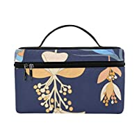 HYLVE メイクボックス 植物 青い花 コスメ収納 化粧品収納ケース 大容量 収納ボックス 化粧品入れ 化粧バッグ 旅行用 メイクブラシバッグ 化粧箱 持ち運び便利 プロ用