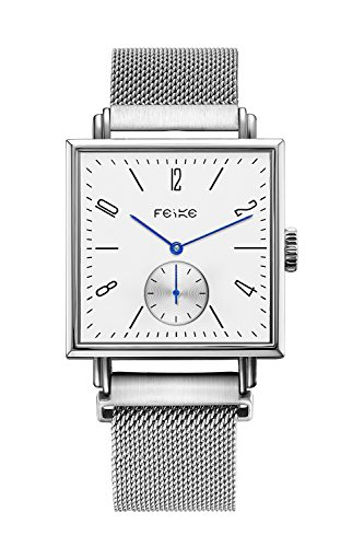 FEICE ビジネスカジュアル メンズ 自動機械式 腕時計 人工サファイアミラー 時計#FM301 (ブラックレザーバンド)