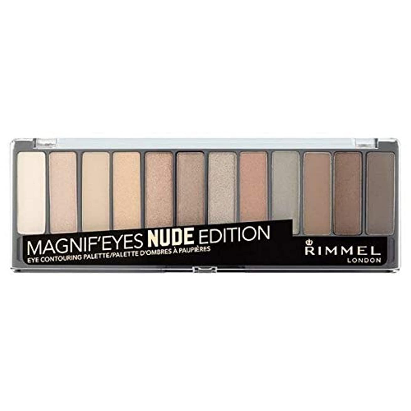 面倒見通し同性愛者[Rimmel ] ヌードリンメルMagnif'Eyes 12パンアイシャドウパレット - Rimmel Magnif'Eyes 12 Pan Eyeshadow Palette Nude [並行輸入品]