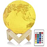 3D Printed Earth Lamp InLife 15cm Rechargeable USB Multicolor 16 RGB Changing LED Night Light Touch Control for Children with Remote Control